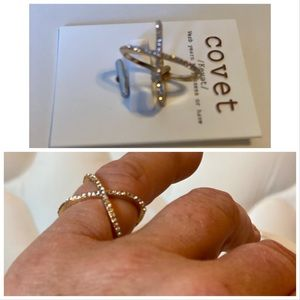 Covet Gold Plated Criss Cross Ring Size 8